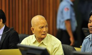 Nuon Chea during a Trial Chamber