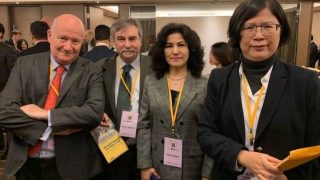 타이베이에서 열린 장관급 포럼에 참석한 마시모 인트로빈, 마르코 레스핀티, 루샨 아바스, 그리고 파룬궁 변호인 데레사 추의 모습