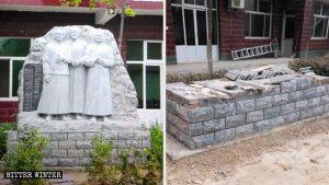 우 씨 일가의 성인을 기리기 위해 교인들이 세운 동상이 철거되었다