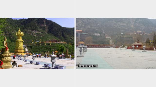 샤오자이 사찰 광장에 자리한 낙수 관음보살상과 중국 십이생초(十二生肖) 관음보살상들이 철거된 후의 모습