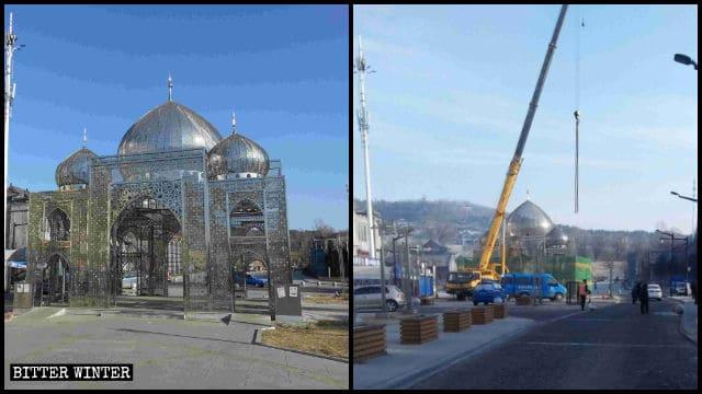 할랄 음식 거리의 모든 이슬람식 건축물이 허물어졌다