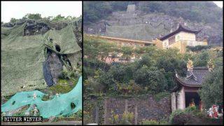 천으로 가려진 진용 사원의 나한 조각상들