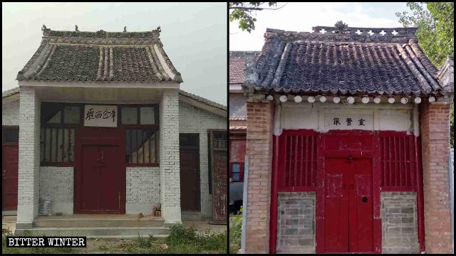 펑밍현의 사원 두 곳이 창고로 개조되었다