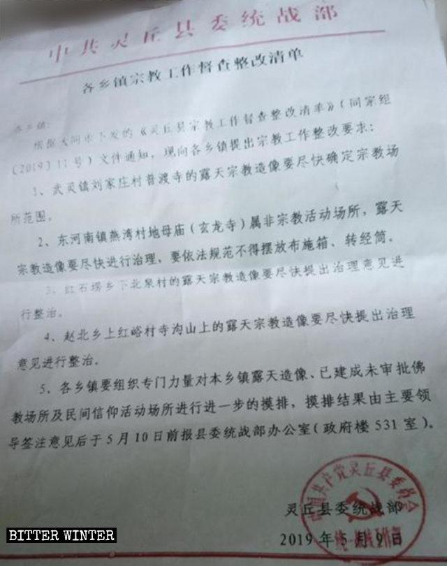 링추현 통일전선공작부에서 발행한 단속 대상 옥외 불상들의 '교정' 목록