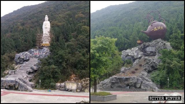 거대한 찻주전자로 대체된 불교 신상