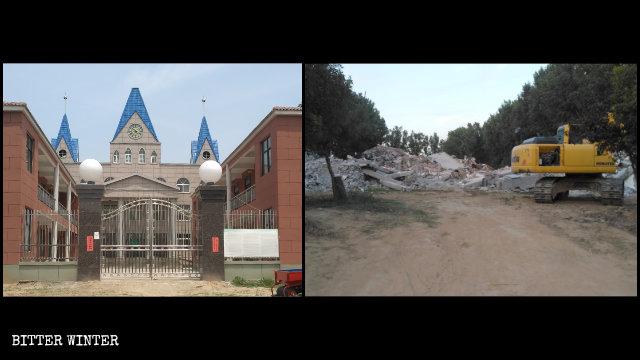 우즈(武陟)현에 위치한 한 삼자교회의 철거 전후 모습