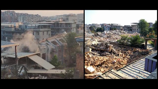 가오후촌의 국가 승인 예배소 한 곳이 파괴되어 잔해만 남은 모습