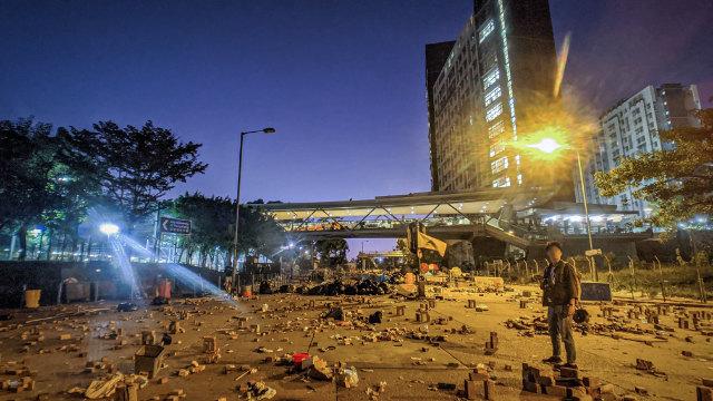 경찰 진압 후 홍콩시티대학(香港城市大學)의 모습