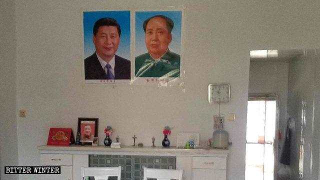 포양(鄱陽)현의 한 가톨릭 집회소에 걸려 있는 시진핑과 마오쩌둥 초상화