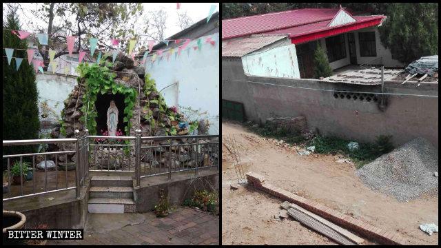린장(臨漳)현의 어느 성당 뜰에 있던 성모 마리아상이 현지 관리들의 명령에 의해 파괴된 모습