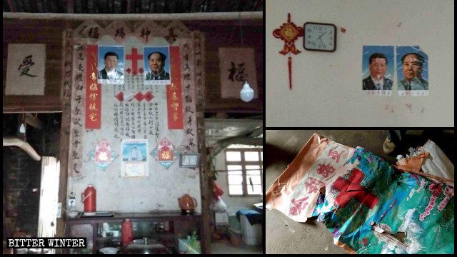 신앙인들의 집에서 종교 상징물들이 찢기고 시진핑과 마오쩌둥의 초상화가 그 자리를 대신한 모습