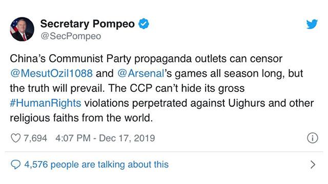 폼페이오 미국 국무장관이 트위터에 올린 외질 지지 글