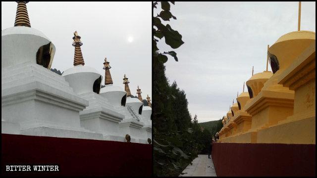 8월, 성천사 사리탑에서 황금 탑첨이 제거되고 탑에는 노란색 페인트칠이 된 모습
