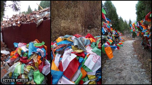 사리탑 둘레에 티베트인들이 건 오색의 타르쵸가 뜯긴 모습