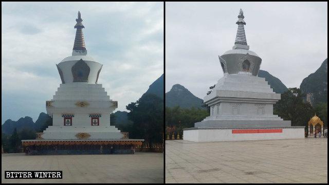 안복사의 티베트식 사리탑이 회색 페인트칠이 되고 대좌 기둥들은 콘크리트로 덮인 모습