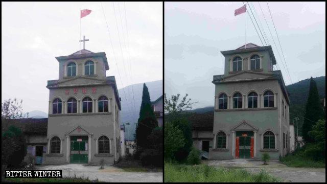 십자가와 '기독교 교회'라는 글씨가 제거되기 전후 어느 삼자교회의 모습