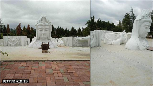 7조각으로 나누어진 화엄사(华严寺)의 관음상