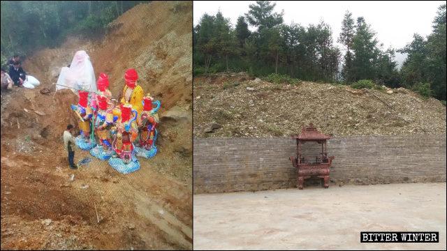 관광지의 상들이 묻힌 언덕