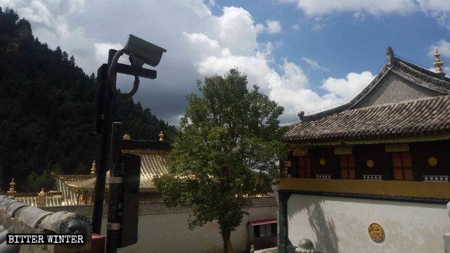 사원의 뜰에도 설치된 감시 카메라