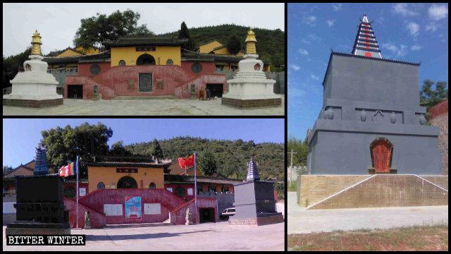 회색으로 칠해진 금정사(金顶寺)의 두 흰색 티베트 탑