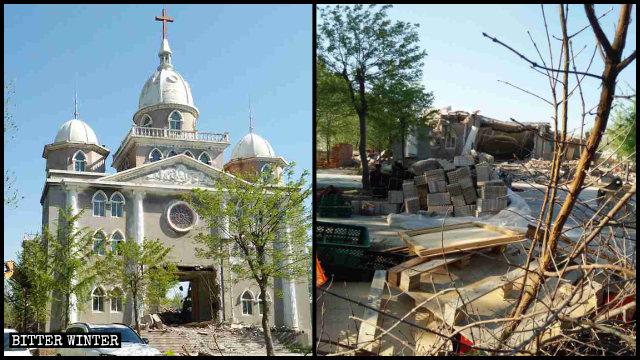 코로나19 발발 기간에 파괴된 웨이팡시의 삼자교회