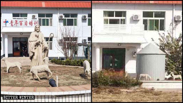 가려진 '청소년 백일 교육관' 건물의 간판과 예수상