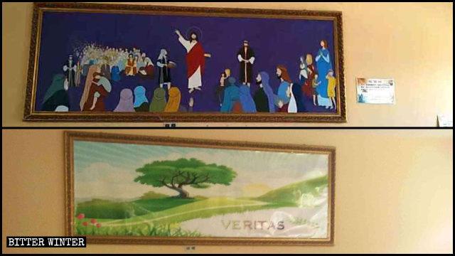 식당 내의 '오병이어'라는 제목의 벽화가 풍경화로 대체된 모습