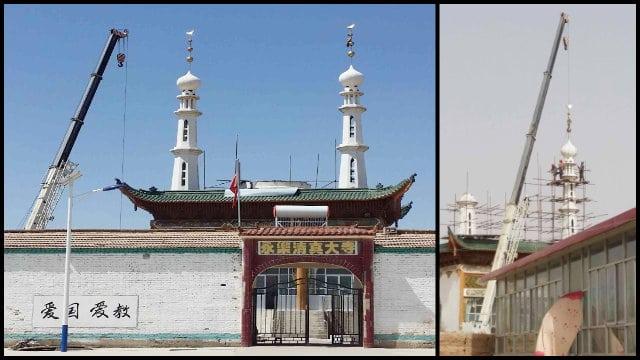 4월, 중국 북서부 간쑤성 바이인(白銀)시에 있는 영락(永樂) 모스크에서 돔과 첨탑이 제거되었다.