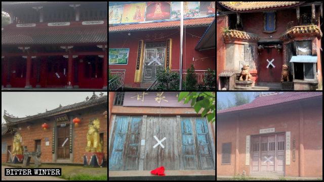루저우(瀘州)시에서 수많은 불교 사찰들이 폐쇄된 모습