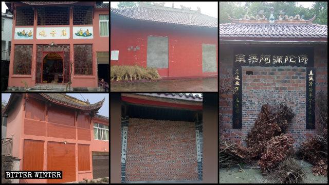 입구와 창문이 벽돌이나 나무판으로 막힌 다수의 사찰 모습