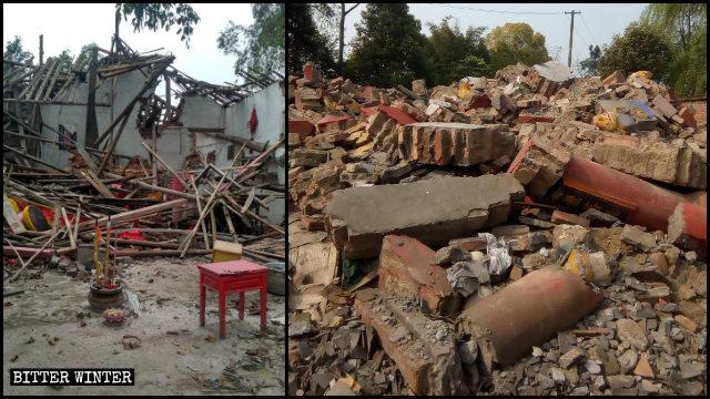 루저우시 관할 루(瀘)현에서 몇몇 불교 사찰이 파괴된 모습