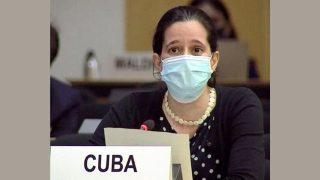 제네바 소재 인권이사회에서 53개 친중국 국가를 소개하고 있는 쿠바 대표