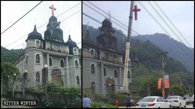 융푸(永福)촌의 어느 삼자교회에서 십자가가 철거되는 모습