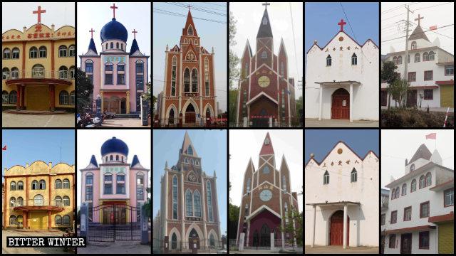 사진: 1월에서 4월 사이, 안후이성의 수많은 교회에서 십자가가 철거되었다