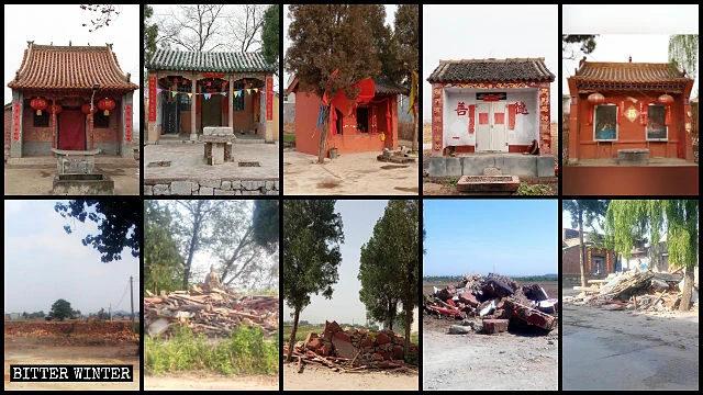 허젠(合澗)진의 수많은 촌(村) 사당들이 강제 철거된 모습