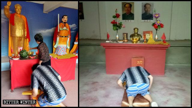 팬데믹의 와중에도 마오쩌둥 천신묘에서 경배를 드리는 사람들의 모습